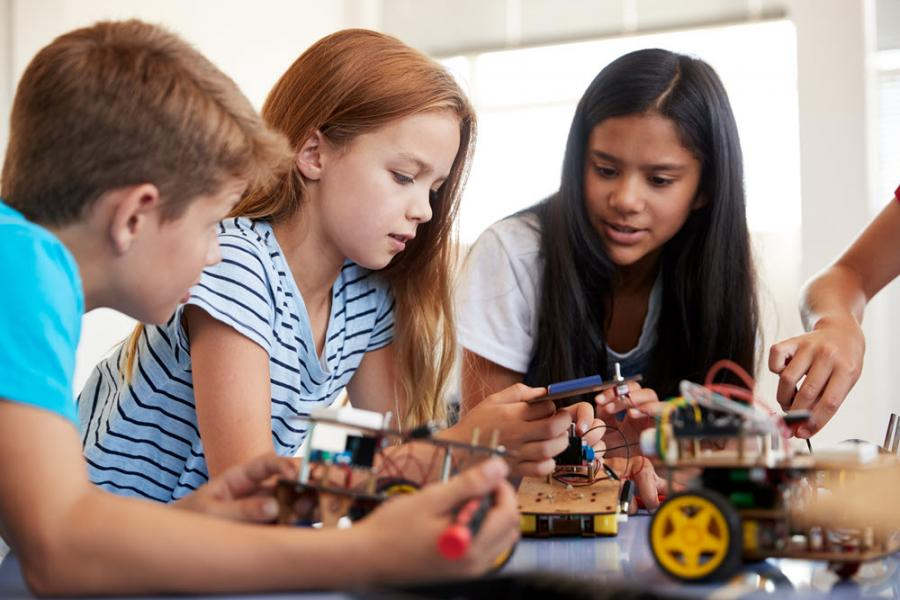 Image showing children working with circuit boards