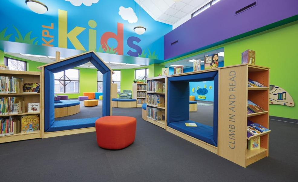 An image of creative shelving in youth areas