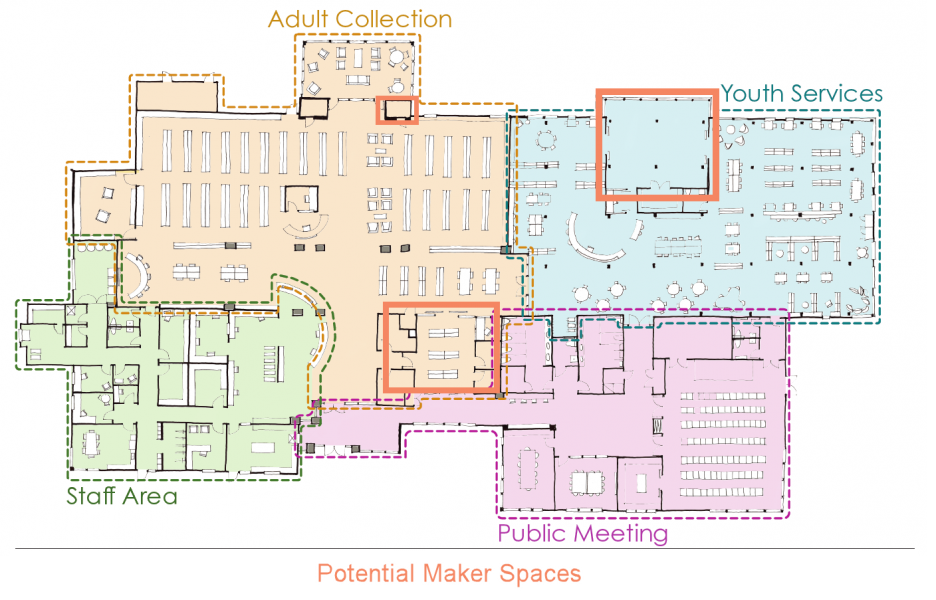 Floorplan image showing maker space areas