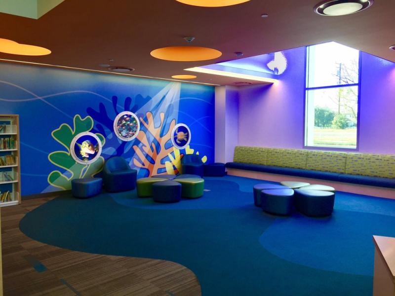 An image of a story-time space at a library in California