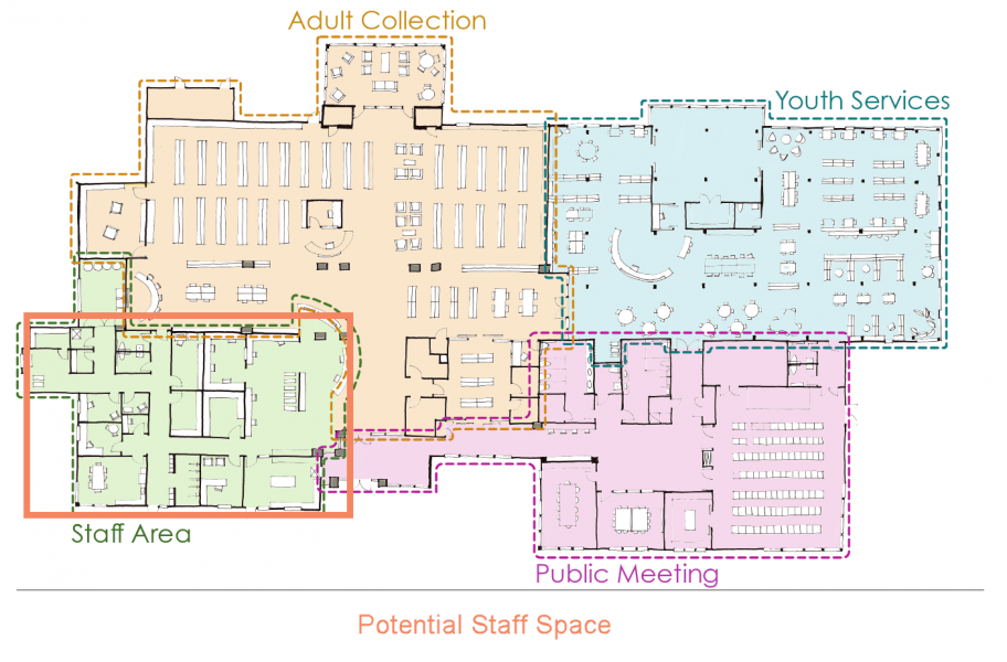 Floorplan image showing staff space areas