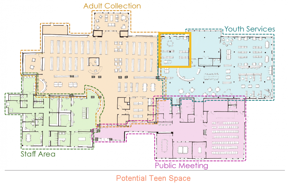 Floorplan image showing youth services space